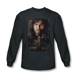 The Hobbit - Mens Kili Poster Long Sleeve Shirt In Charcoal