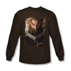 The Hobbit - Mens Nori Poster Long Sleeve Shirt In Coffee