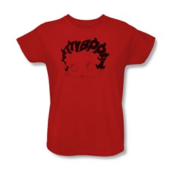 Betty Boop - Womens Word Hair T-Shirt In Red