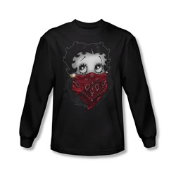 Betty Boop - Mens Bandana & Roses Long Sleeve Shirt In Black