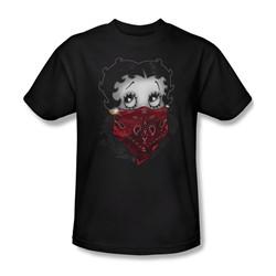 Betty Boop - Mens Bandana & Roses T-Shirt In Black