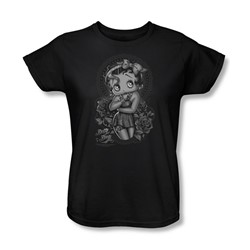 Betty Boop - Womens Fashion Roses T-Shirt In Black