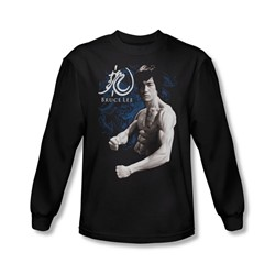 Bruce Lee - Mens Dragon Stance Long Sleeve Shirt In Black
