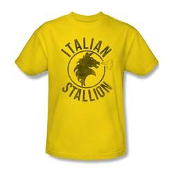 Rocky - Mens Italian Stallion Horse T-Shirt In Yellow