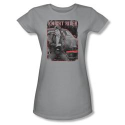 Knight Rider - Womens Knight And Kitt T-Shirt In Silver