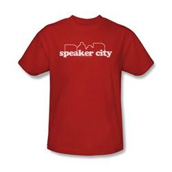 Old School - Mens Speaker City Logo T-Shirt In Red