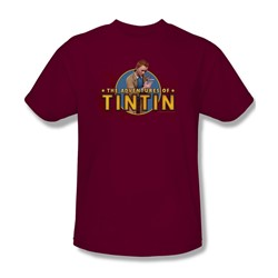 Tintin - Mens Looking For Clues T-Shirt In Cardinal