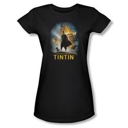 Tintin - Womens Poster T-Shirt In Black