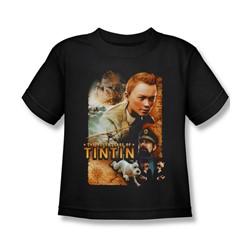 Tintin - Little Boys Adventure Poster T-Shirt In Black