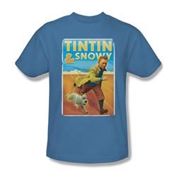 Tintin - Mens Tintin & Snowy T-Shirt In Carolina Blue
