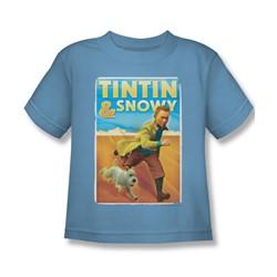 Tintin - Little Boys Tintin & Snowy T-Shirt In Carolina Blue