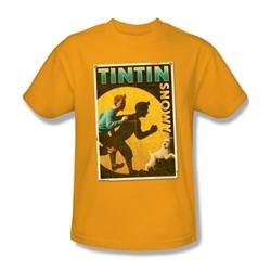Tintin - Mens Tintin & Snowy Flyer T-Shirt In Gold