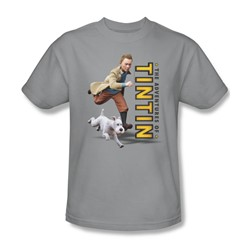 Tintin - Mens Come On Snowy T-Shirt In Silver