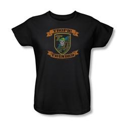 Tropic Thunder - Womens Patch T-Shirt In Black