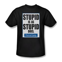 Forrest Gump - Mens Stupid Is T-Shirt In Black