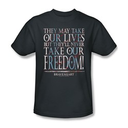 Braveheart - Mens Freedom T-Shirt In Charcoal