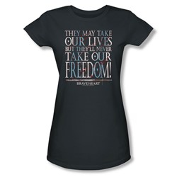 Braveheart - Womens Freedom T-Shirt In Charcoal