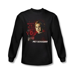 Pet Sematary - Mens I Want To Play Long Sleeve Shirt In Black