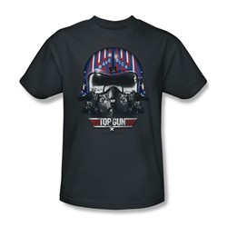 Top Gun - Mens Maverick Helmet T-Shirt In Charcoal