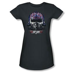 Top Gun - Womens Maverick Helmet T-Shirt In Charcoal