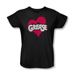 Grease - Womens Heart T-Shirt In Black