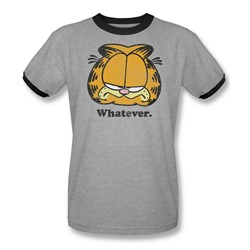 Garfield - Mens Whatever Ringer T-Shirt In Heather/Black