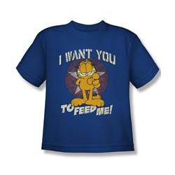 Garfield - Big Boys I Want You T-Shirt In Royal