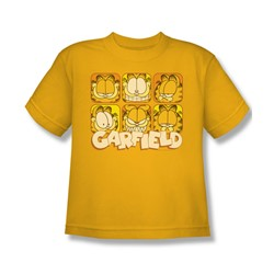 Garfield - Big Boys Many Faces T-Shirt In Gold