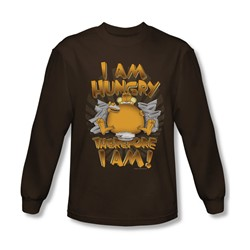 Garfield - Mens Therefore I Am Long Sleeve Shirt In Coffee