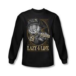 Garfield - Mens Lazy 4 Life Long Sleeve Shirt In Black