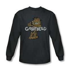 Garfield - Mens Retro Garf Long Sleeve Shirt In Charcoal