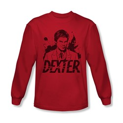 Dexter - Mens Splatter Dex Long Sleeve Shirt In Red