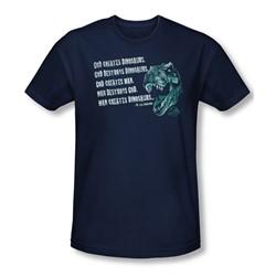 Jurassic Park - Mens God Creates Dinosaurs T-Shirt In Navy