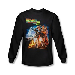 Back To The Future Iii - Mens Poster Long Sleeve Shirt In Black