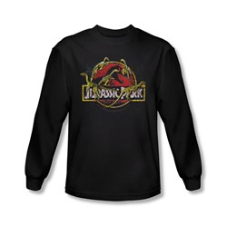 Jurassic Park - Mens Something Has Survived Long Sleeve Shirt In Black