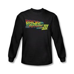 Back To The Future Iii - Mens Logo Long Sleeve Shirt In Black