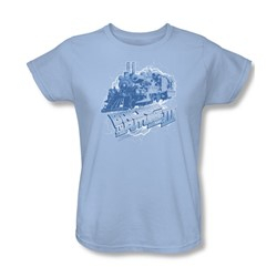 Back To The Future Iii - Womens Time Train T-Shirt In Light Blue