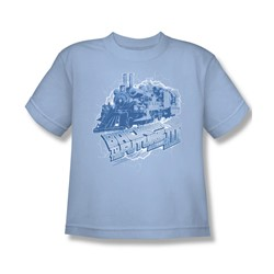 Back To The Future Iii - Big Boys Time Train T-Shirt In Light Blue