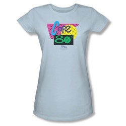 Back To The Future Ii - Womens Cafe 80'S T-Shirt In Light Blue