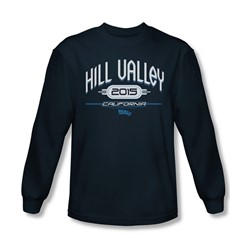 Back To The Future Ii - Mens Hill Valley 2015 Long Sleeve Shirt In Navy