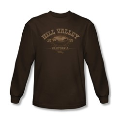 Back To The Future Iii - Mens Hill Valley 1855 Long Sleeve Shirt In Coffee