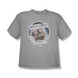 Back To The Future Ii - Big Boys Synchronize Watches T-Shirt In Silver