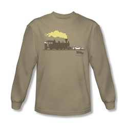 Back To The Future Iii - Mens Pushing The Delorean Long Sleeve Shirt In Sand