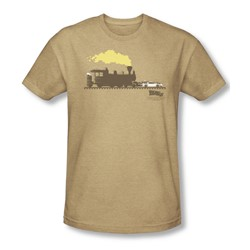 Back To The Future Iii - Mens Pushing The Delorean T-Shirt In Sand