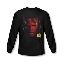 Hellboy Ii - Mens Hellboy Head Long Sleeve Shirt In Black