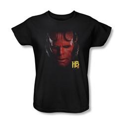 Hellboy Ii - Womens Hellboy Head T-Shirt In Black