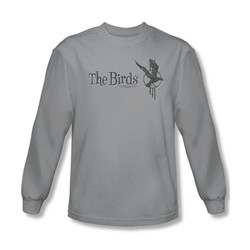 Birds - Mens Distressed Long Sleeve Shirt In Silver