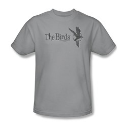 Birds - Mens Distressed T-Shirt In Silver