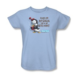 Chilly Willy - Womens Hands Off T-Shirt In Light Blue