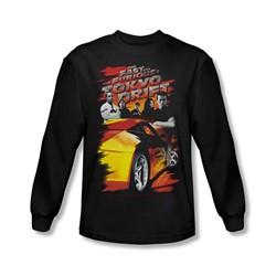 Tokyo Drift - Mens Drifting Crew Long Sleeve Shirt In Black